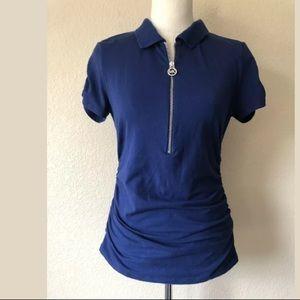 Michael Kors Polo Top Ruched Blue Zipper Shirt M